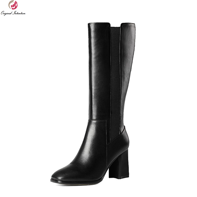 Original Intention Women Mid-Calf Boots Cow Leather Square Toe Square Heels Boots Fashion Black Shoes Woman US Size 3.5-10.5 рюкзак case logic 17 3 prevailer black prev217blk mid