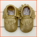 Dropshipping Leather Baby Gold Moccasins Newborn Anti-slip Firstwalker Toddler Footwear Gold Leather Moccasins FTD009