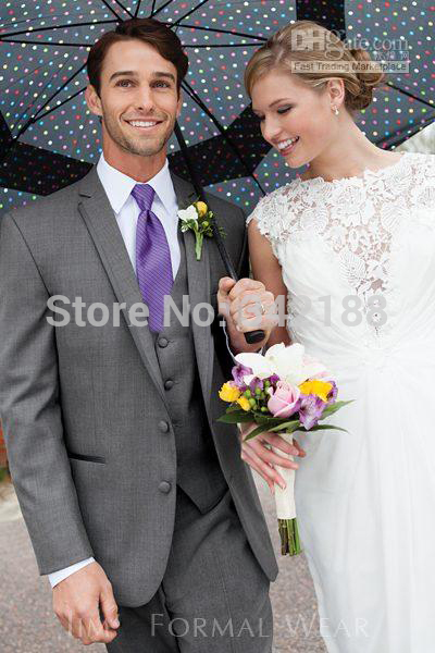 top saleDark gray Two buttons Notch Lapel Groom Tuxedos Groomsmen Men Wedding Suits/wester suitswedding men clothes