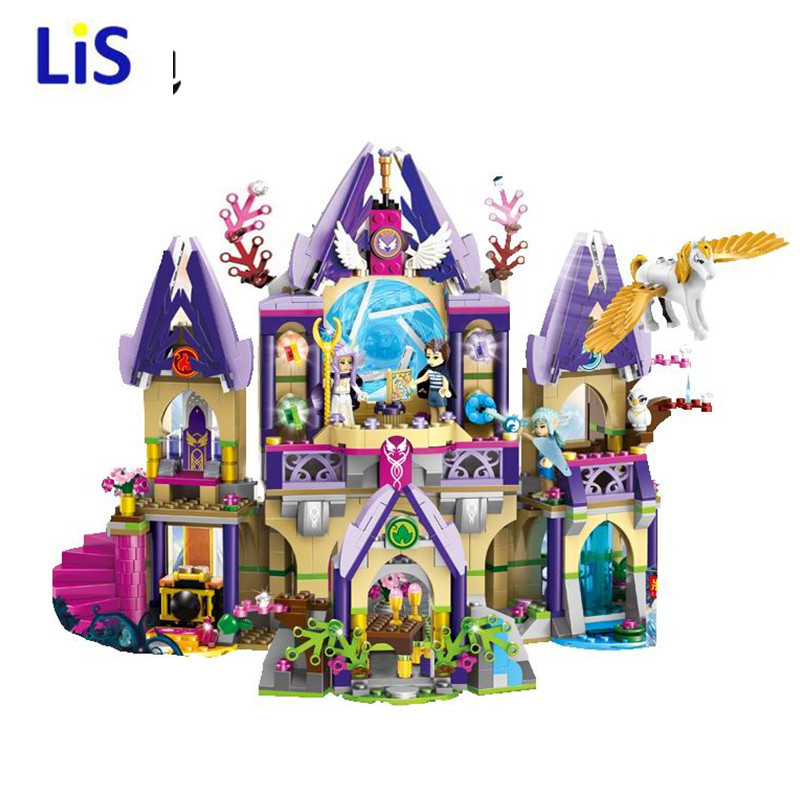 Lis  10415 Elves Azari/Aira/Naida/Emily Jones Sky Castle Fortress Building Blocks Toy Gift For Girls Compatible legoINGLYS 2017 10415 elves azari aira naida emily jones sky castle fortress building blocks toy gift for girls compatible lepin bricks