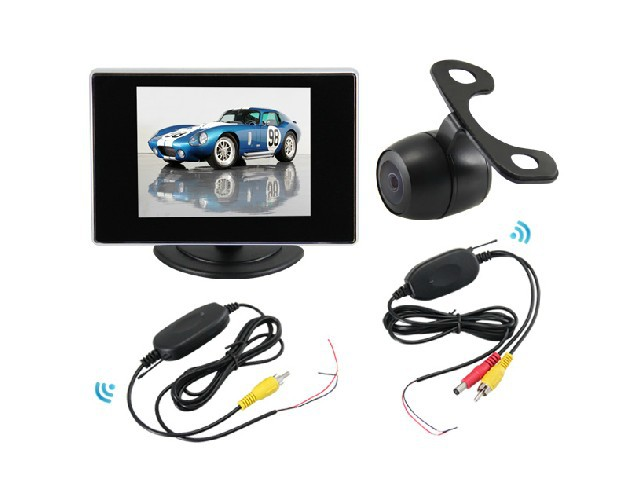 3 In 1 Universal Wireless Car reverse camera parking rearview camera + 3.5tft LCD Montior with Night vision & Waterproof ...