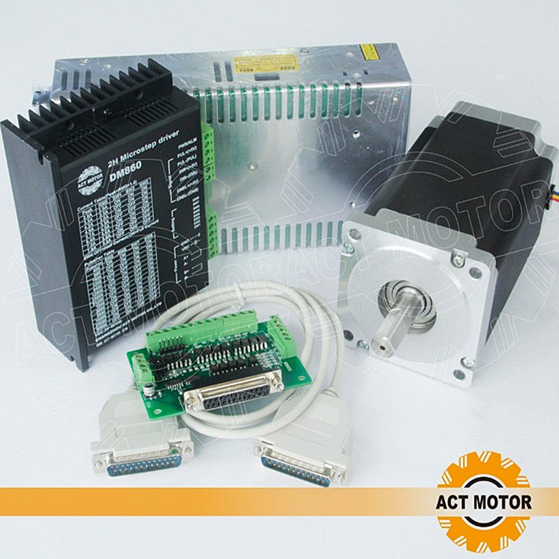 Free ship from Germany!ACT 1Axis CNC Nema34 Stepper Motor 34HS1456 Single Shaft 4Lead 1232oz-in 118mm 5.6A+Driver DM860 80V 7.8A 4 axis cnc kit  nema23 3a 270 oz in