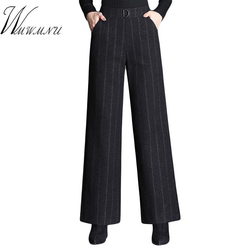 Fashion New Striped Woolen Wide Leg Pants Women 2019 Hot Sale Casual Loose Spring Autumn High Waist Trouers Plus Size  Mom Pants