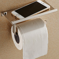 Bathroom Toilet Roll Paper Holder Wall Mount Stainless Steel Bathroom WC Paper Phone Holder with Storage Shelf Rack|Portable Toilet Paper Holders| |  -