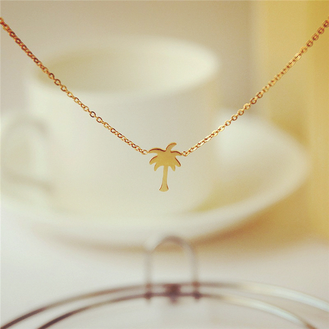 Summer style gold silver palm tree pendant necklace women men summer style gold silver palm tree pendant necklace women men tropical jewelry stainless steel boho chain mozeypictures Gallery