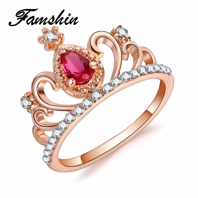 FAMSHIN Princess Queen Crown Rings For Women Birthday Gift Trendy Rose Gold Colo