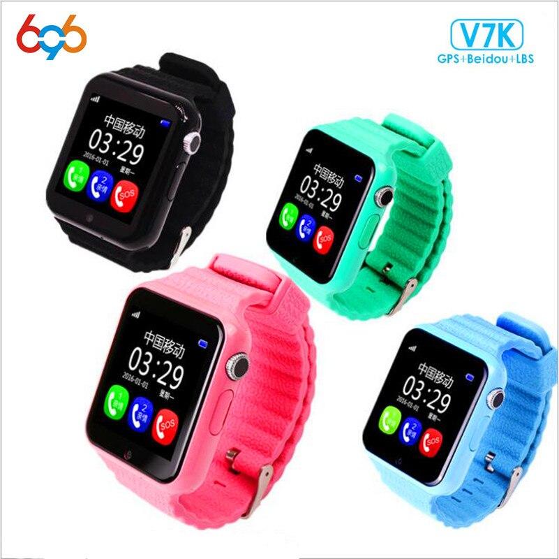 696 enfants sécurité GPS montre intelligente V7K 1.54 ''écran avec caméra facebook SOS appel localisation devisseur Tracker pour IOS et Android