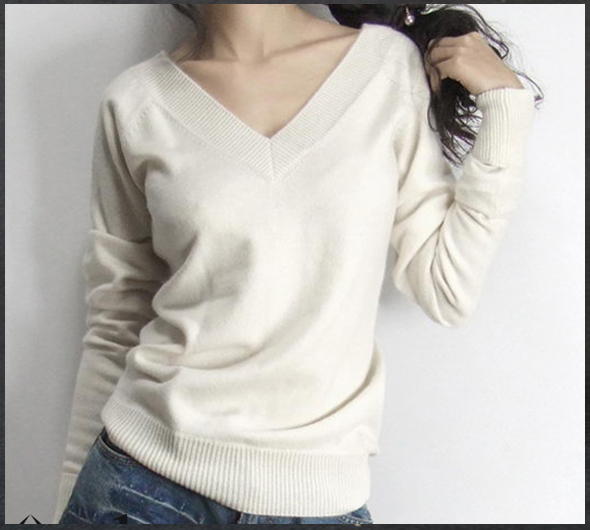 2019 Spring New Arrival Female Slim Cashmere Sweater Double V-neck Before And After The Sheep Wool Knitted Basic Shirt Sweater