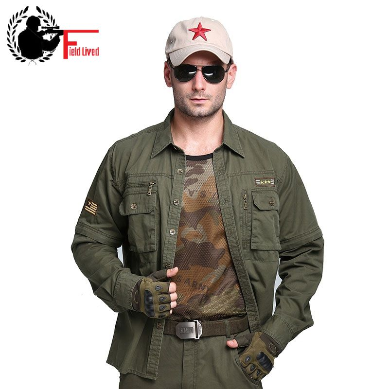 2020 Mens Army Shirt Military Button Collar Multi Pocket 100 Cotton Casual Shirt Male Cargo Long Sleeve Detachable Plus Size Big