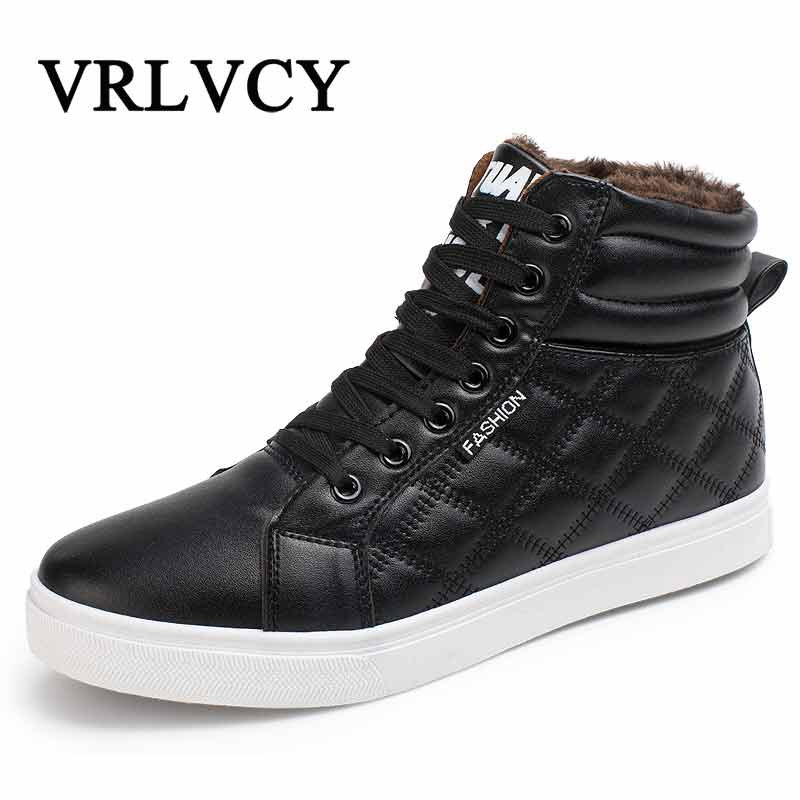 2018 New Hot Men Shoes Fashion Warm Fur Winter Men Leather Boots Waterproof Snow Boots Footwear High Top Canvas Casual Shoes Men xiaguocai new arrival real leather casual shoes men boots with fur warm men winter shoes fashion lace up flats ankle boots h599