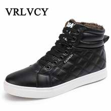 2018 New Hot Men Shoes Fashion Warm Fur Winter Men Leather Boots Waterproof Snow Boots Footwear High Top Canvas Casual Shoes Men
