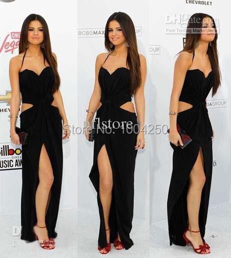 426dd52c087 Los premios de la música negro Selena Gomez vestido cariño Sexy hendidura celebridades  vestidos de noche