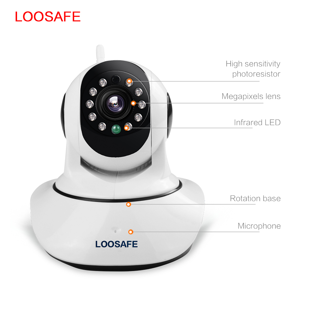 LOOSAFE Wireless Mini IP Camera Wifi IR-cut Night Vision Home Surveillance IP Camera Network Indoor Baby Monitor Remote View