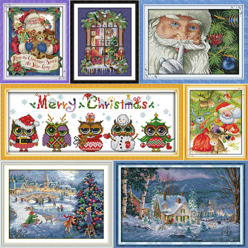 Gioia Domenica Di Natale serie Tela DMC Contato Kit Punto Croce Cinese stampati Cross-stitch set Embroidery Needlework