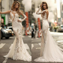 Charming Long Sleeves Mermaid Wedding Dresses 2020 Sexy Sheer Full Lace Applique Bridal Dress See through Backless Bridal Gowns