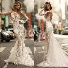 Charming mangas compridas sereia vestidos de casamento 2020 sexy sheer completo laço applique vestido de noiva ver através vestidos de noiva sem costas