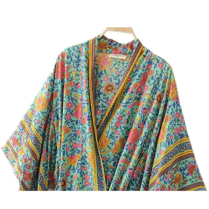 Boho Vintage Floral Print Sashes Long Kimono Shirt Women 2019 New Fashion Cardigan Coat Batwing Sleeve Loose Blouse Femme Blusa in Blouses amp Shirts from Women 39 s Clothing