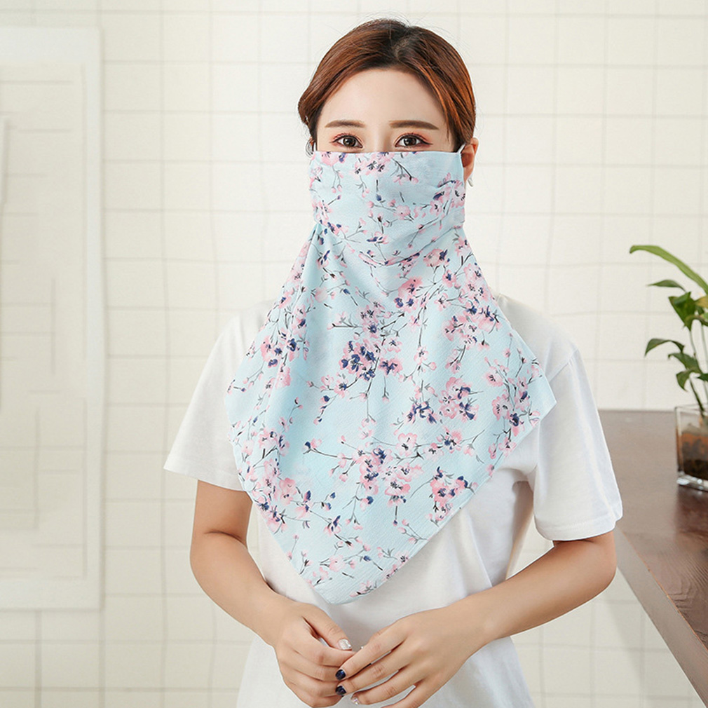 2019 Fashion Print Female Oversized Chiffon Face Mask Soft Breathable Sunscreen Full Neck Cover Women Driving Sunshade Mask