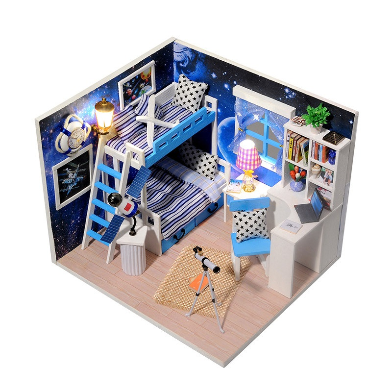 DIY Cottage Space Dream 3D Stereo Handmade Secret box the House Assembling Model Building Blocks with Musical Box