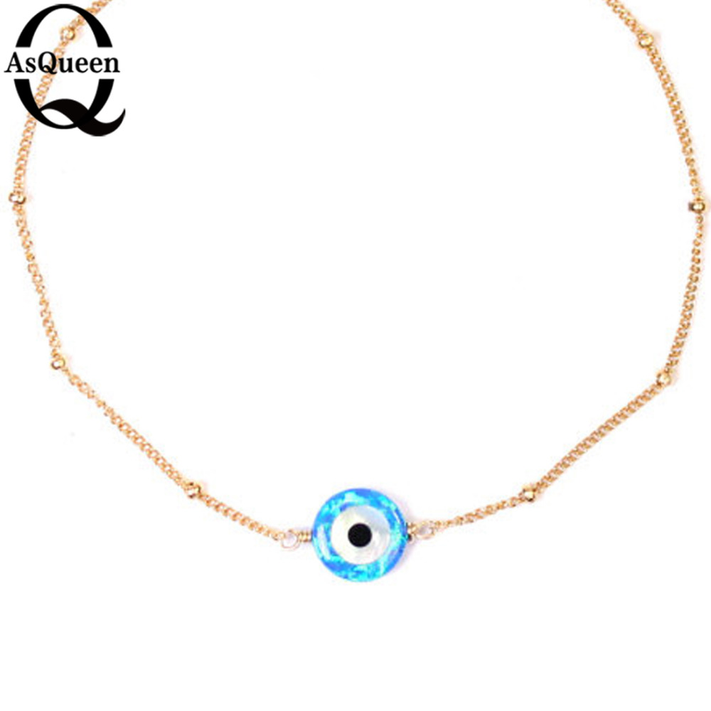 Långa guldfärgskedjor Blå opalhalsband för kvinnor Onda - Märkessmycken - Foto 2