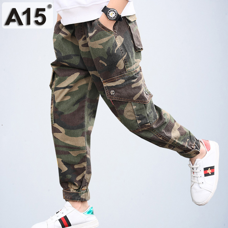 Camo Pants Jogger Teenage Boys Pants Military Camouflage Pants Kids Spring Autumn Boys Trousers Cotton Size 6 7 9 10 11 13 Years