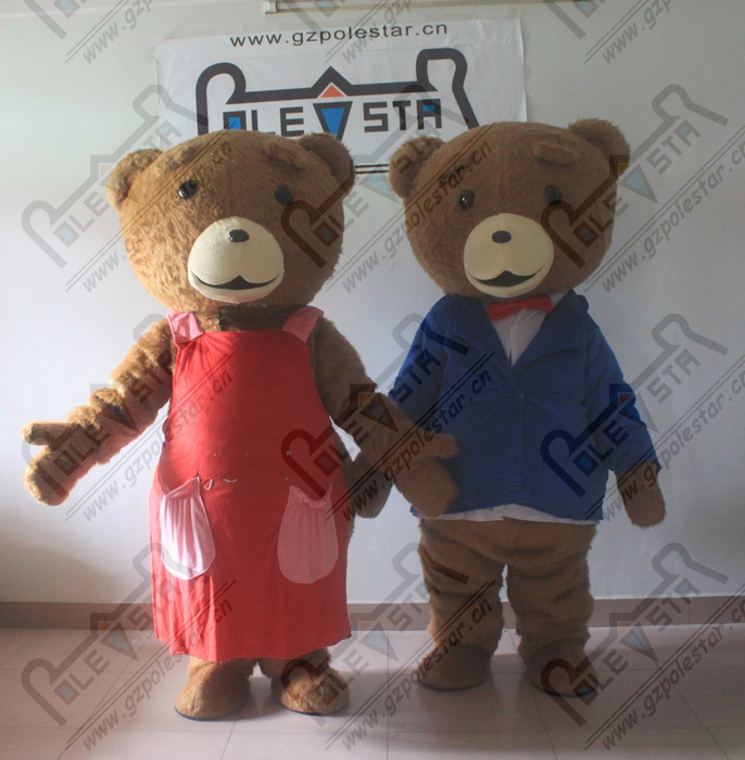 family Ted mascot costumes cartoon brown teddy bear mascot costumes long brown fur bear costumes