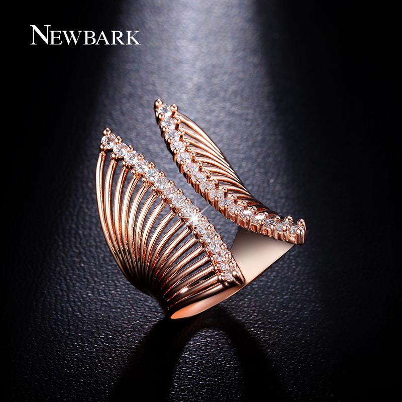 NEWBARK Exaggerated Open Ring Prongs 2 Row Round Clear Sparkling CZ Jewelry Wide Cuffs Rings For Women Hollow Out Design