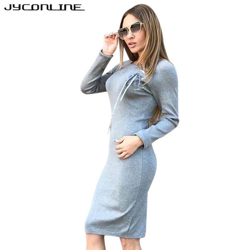 JYConline 2017 Autumn Winter Long Sleeve Bow Sweater Dress Knee Length Sexy Midi Dress Bodycon Knitted