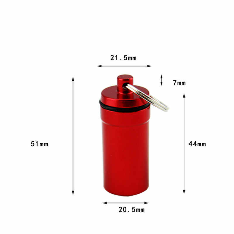 ミニ防水アルミ合金ピルボックスケースボトルキャッシュ薬物ホルダーコンテナキーホルダー薬箱医療