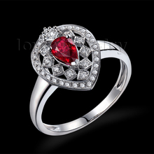 Amazing Diamond Jewelry Pear 4X6mm Romantic Ruby Ring Solid 18kt White Gold Loving Wholesale Christmas Fine Jewelry Gift WU291