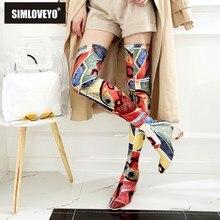 d75d25a6d SIMLOVEYO Feminino outono Inverno Coxa Botas Altas de Salto Alto Mulheres  Com Mais de o Joelho Botas Ankle Boots Sapatos de Muje.