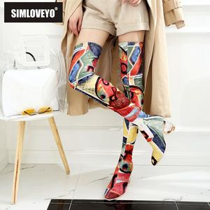 SIMLOVEYO Female Women Over The Knee Ankle Boots Shoes