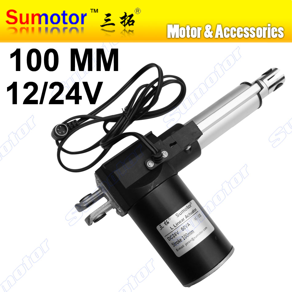 L100 4 inch Stroke 100mm Electric linear actuator DC 12V 24V 5 10 30mm/s Heavy Duty Pusher Progressive 600 300 100Kg furniture цена 2017