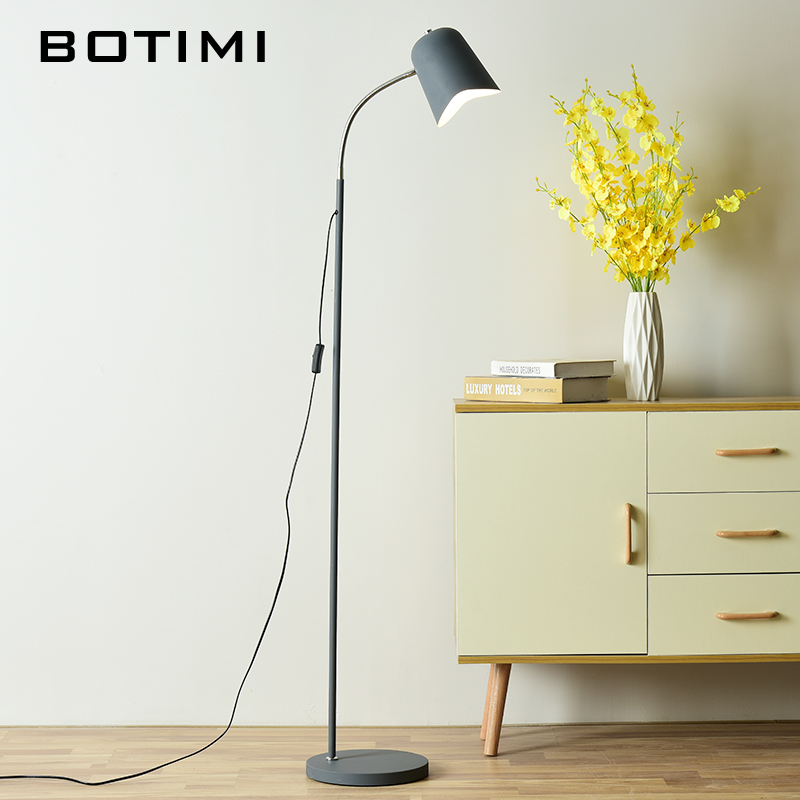 BOTIMI Nordic LED Floor lamp Modern Standing Lamp For Living Room White Bedside Reading Lights Gray Stand Lighting aibiou white led floor lights for living room adjustable standing lamp black floor lamps modern reading lighting fixtures