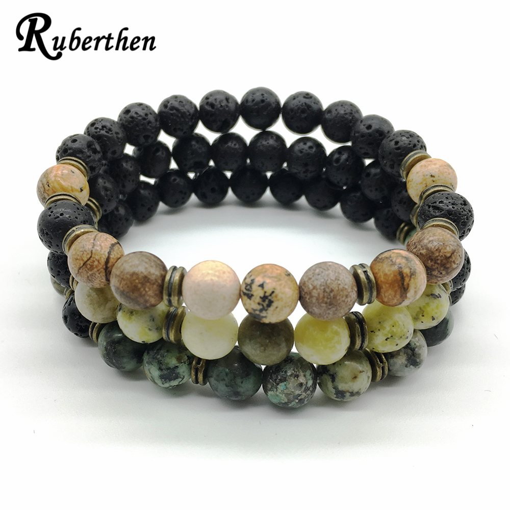 Ruberthen 2018 New Arrival Men`s Bracelet Yellow Howlite Bracelet African Turquise Bracelet High Quality Picture Stone Jewelry