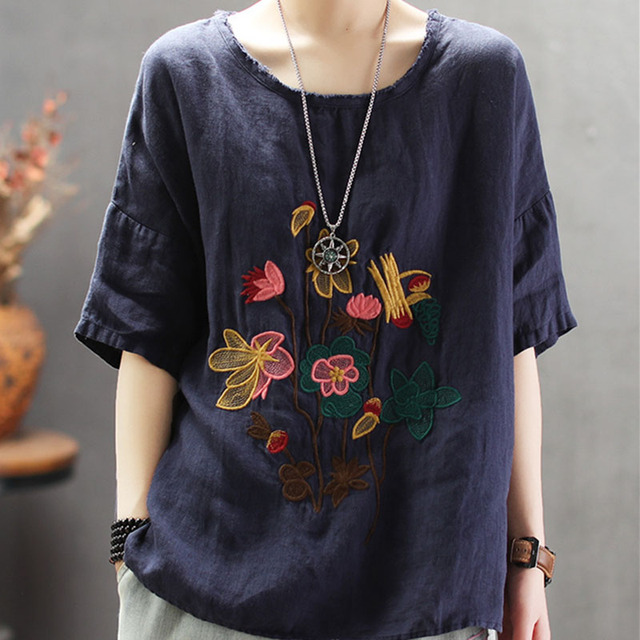 Embroidery Linen Round Neck...