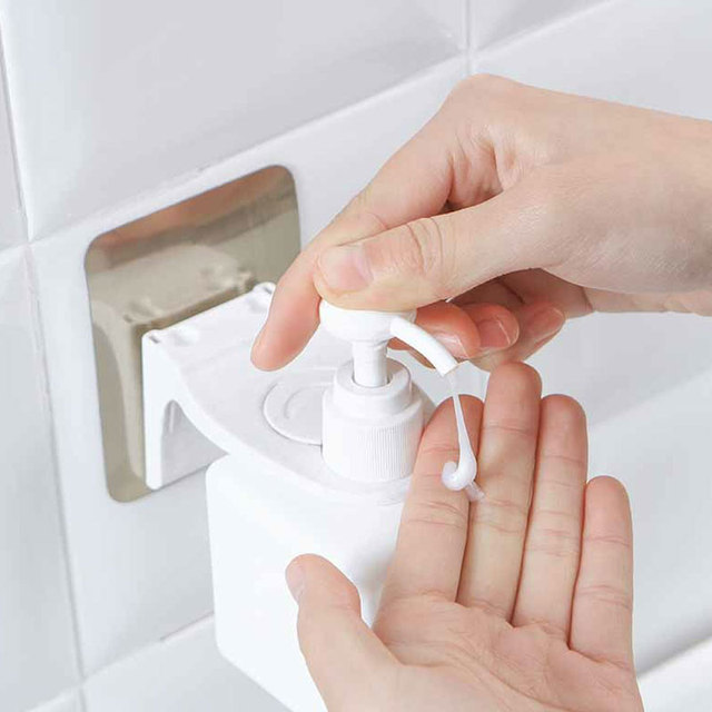 Plastic Shampoo Gel Bottle Holder With Sticker Wall Mounted Stand Hanging Hook Shelves Hanger Bathroom Tool