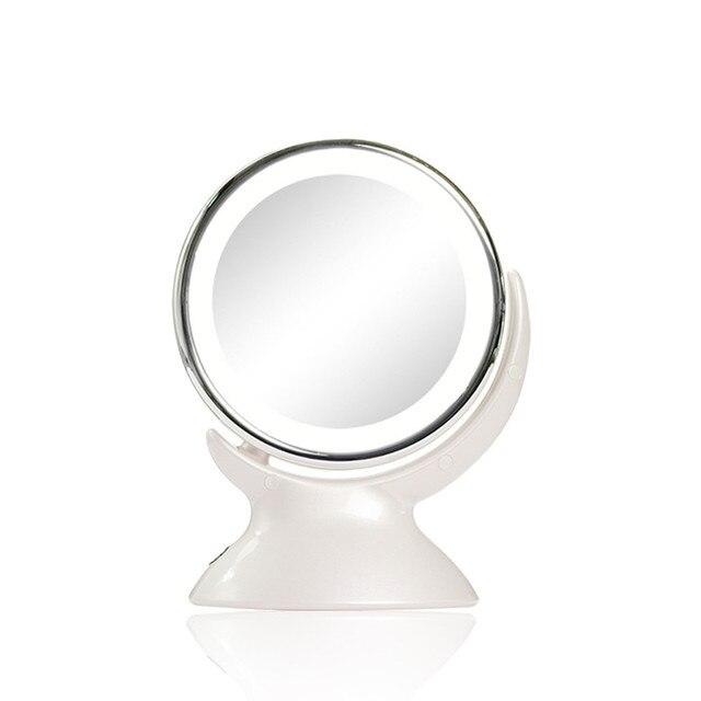 LED Зеркало Для Макияжа Двусторонняя Высокой четкости 360 Градусов Вращения Мягкий Свет 5 Раз Увеличение Красоты Зеркало Для Макияжа Инструменты