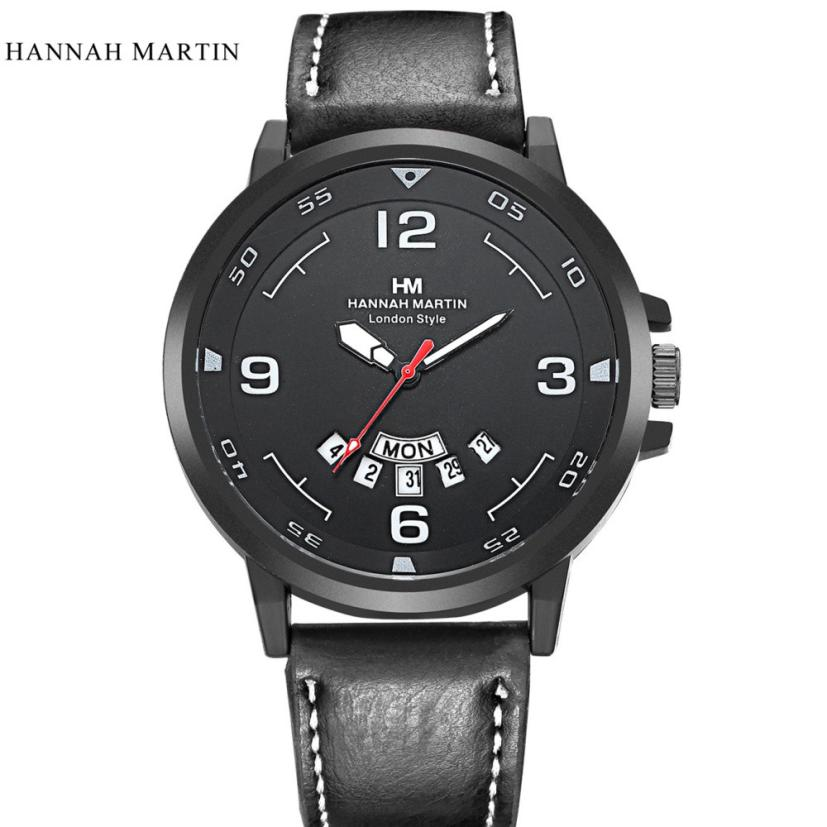 Relogio masculino 2017 Hannah Martin Men Army Date Leather Stainless Steel Sport Quartz Wrist Watch Horloge 17May28 men women fashion fashion hannah martin men date stainless steel leather analog quartz sport wrist watch dropshipping hot sale2