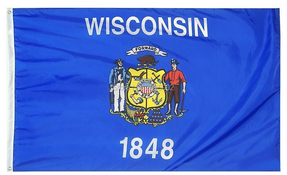 Wisconsin State Flag Polyester grommets 3 x 5 Banner metal holes Flag