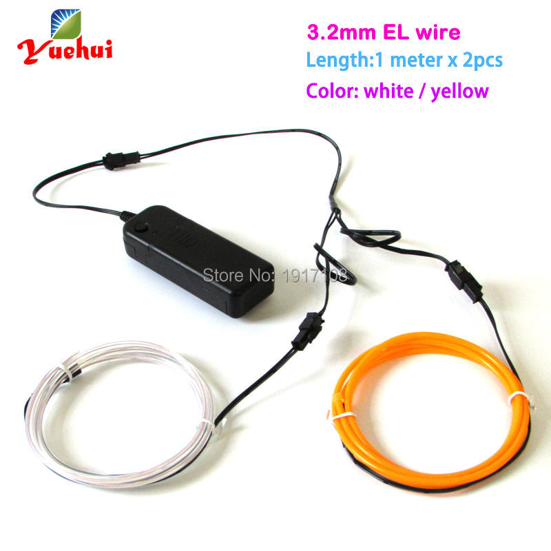 1M Custom 2pieces color 3.2mm Flexible EL Wire Rope Tube Neon glowing Light with 3V inverter For Toys/Craft,Car,Party Decoration