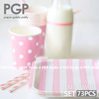 [PGP] Pink Paper Tableware Set, Plate+Cup+Straw Mix, for Ladies Baby shower Kids Girls birthday Wedding Children's Day Party