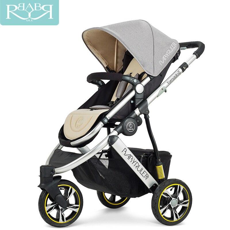 Babyrule haute paysage 6 couleurs aluminium luxe pliant bébé poussette 3 en 1 landau pour nouveau-né assis et couché enfants