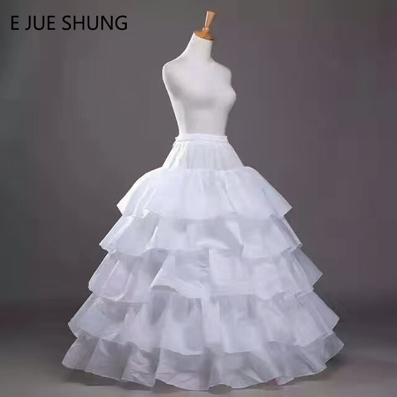 E JUE SHUNG Free Shipping 4 Hoops 5 Layers Wedding Petticoat Ball Gown Crinoline Slip Underskirt For Wedding Dress High Quality