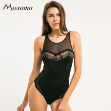 Missomo 2017, Новая мода женский, черный Кружева Push Up Sexy Mesh Bodycon женские мягкие высота ногой сладкий Боди