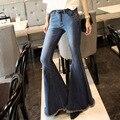Super Fashion high street Vintage Wide Leg Flare Jeans Womens Hippie jeans femme slim calsa denim jean super Flare Pants