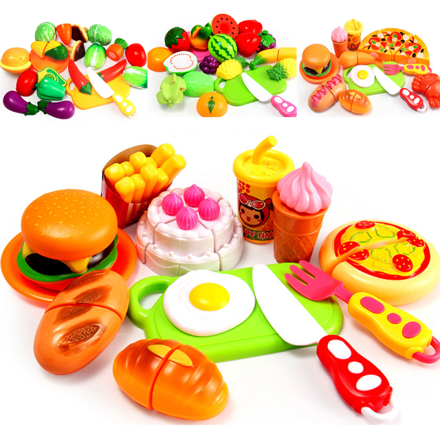 b3db69aea25 Children s Kitchen Cooking Set Plastic Simulation Cutting Fruits Vegetables  Food Toy Pretend Play Educational Toys for