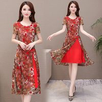 Red Print Korean Fake Two Pieces Dress Plus Size Loose Chiffon Super Size 5xl Women's Dresses Floral Woman Cloth Etnik Elbise