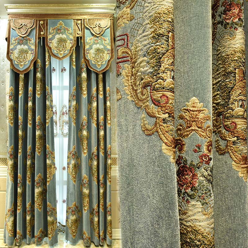 Custom curtains High grade European style curtain luxurious living room Thick chenille jacquard cloth curtain valance tulle E876 window valance
