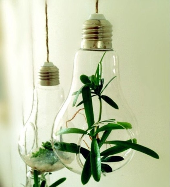 free shipping  14*8cm Glass lamp bulb vase Hanging Glass Vases fit home decor and housewarming green gift